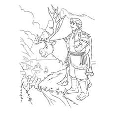 kristoff and sven from frozen coloring pages