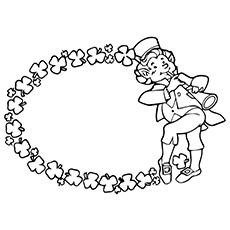 Flute Coloring Page - Leprechaun Playing Flute