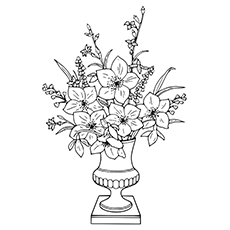 lily coloring pages lily vase - Lily Coloring Pages