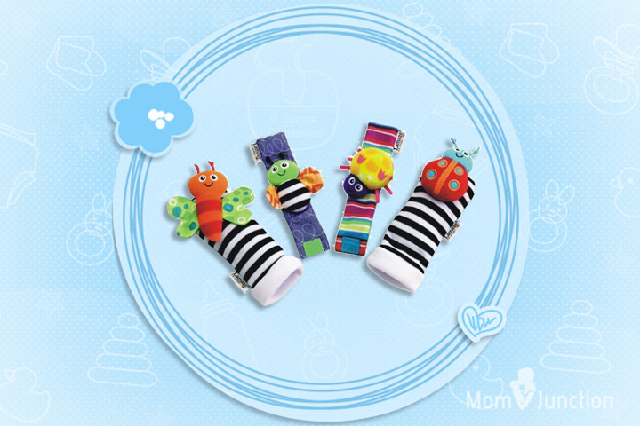 Toys For 1 Month Old Baby - Makarine 4 x Baby Infant Soft Toy Wrist Rattles Hands Foots Finders Developmental