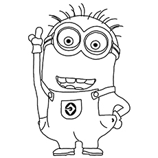 Mark Two Eyed Minion With Combed Hair Coloring Page