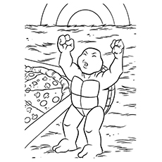 Pizza Coloring Pages - Michelangelo Eating Pizza