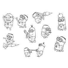 Minions Group Printable to Color Free