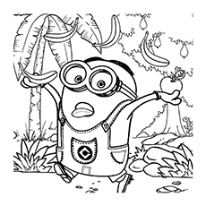 Minions Love Banana Paul On Work Coloring Page