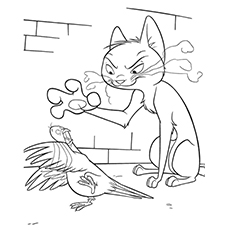 Dove Coloring Page - Mittens Trying To Catch A Dove