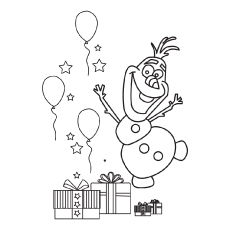 Olaf In a Happy Mood Coloring Page