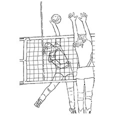 Girl Blocking the Volleyball from Smashing Coloring Pages