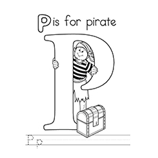 Pirate Coloring Pages - P For Pirate