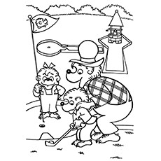 Golf Coloring Pages - Papa Bernstein Bear Teach Brother And Sister Bear How To Golf