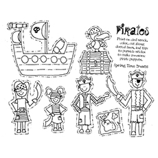 Pirate Coloring Pages - Pirate Puppets