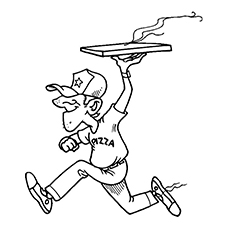 Pizza Coloring Pages - Pizza Delivery Boy