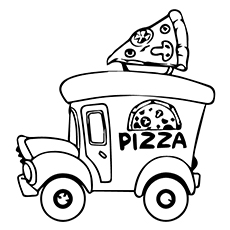 pizza coloring pages pizza truck - Pizza Coloring Pages