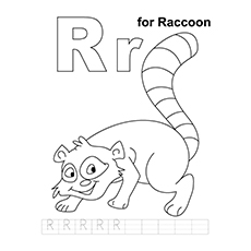 Raccoon Coloring Page - R For Raccoon