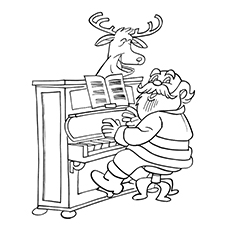 Santa-Playing-Piano-With-His-Reindeer