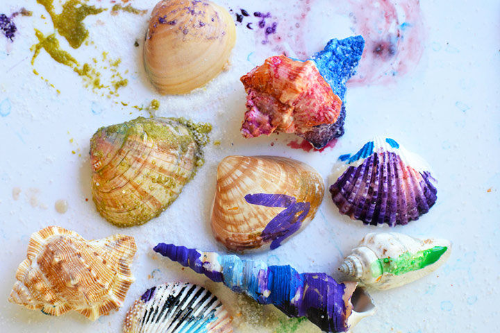 Painting For Kids - Shell Painting With Water Colors