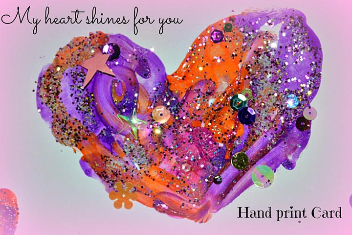Childrens Day Card & Craft Ideas  - Shiny Hand Print Card