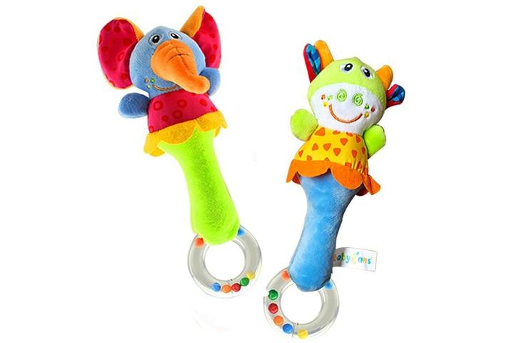 Soft Plush Animal Baby Rattle Toys 2 PCS
