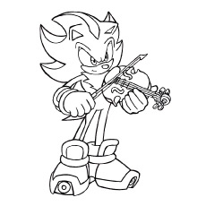 Violin Coloring Page - Sonic Playing Violin