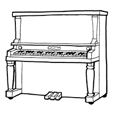 Piano Coloring Pages - Spinet Piano