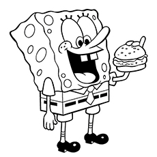 Burger Coloring Pages - SpongeBob Enjoying Burger