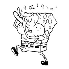 Flute Coloring Page - SpongeBob Playing Flute With His Nose