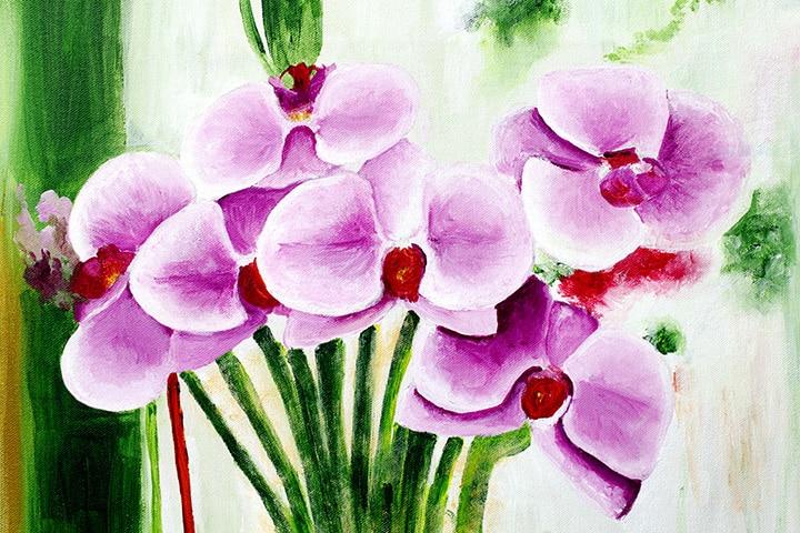 Tape Resist Flower Painting