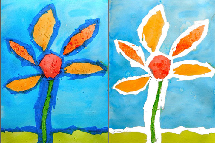 Painting For Kids - Tape Resist Flower Painting