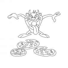 Tasmanian Devil Relishing Pizza