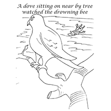 Dove Coloring Page - The Dove And The Bee