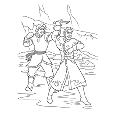 The Fight Between Hans And Kristoff In Frozen Coloring Pages