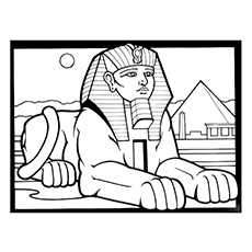 sphinx mythological creature tutankhamen mask coloring page