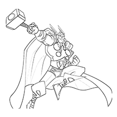 Coloring Pages of Avengers Character Thor with Hammer