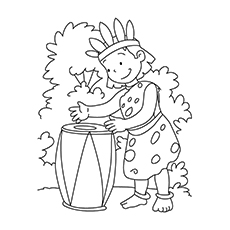 drum coloring page tribal girl playing a drum