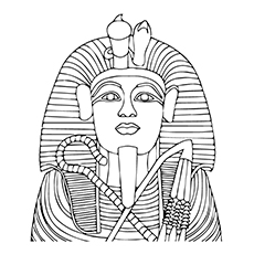 Tutankhamen Mask Coloring Page to Print
