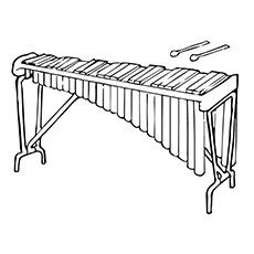xylophone coloring page two rowed xylophone