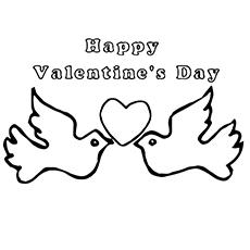 Valentine Dove Coloring Page