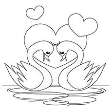 Swan Coloring Pages - Valentine Swans
