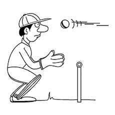 Cricket Coloring Page - Wicket-keeper