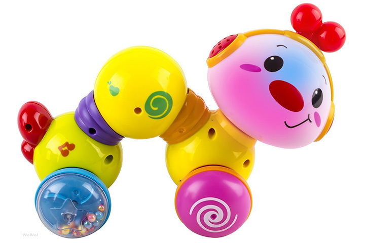 WolVol Baby Press and Crawl Inchworm Activity Toy with Lights and Music