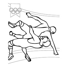 Free Printable Wrestling Olympics Coloring Pages