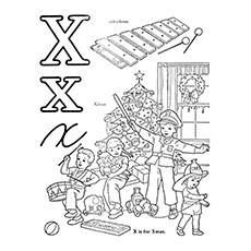 Xylophone Coloring Page - X For Xylophone And X-Mas