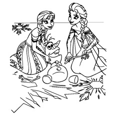 Anna And Elsa Playing with Olaf Outside Coloring Page