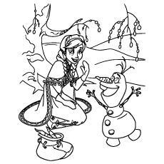 Picture of Anna Happy with Olaf to Color