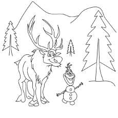 Frozen Characters Sven and Olaf Coloring Page to Print