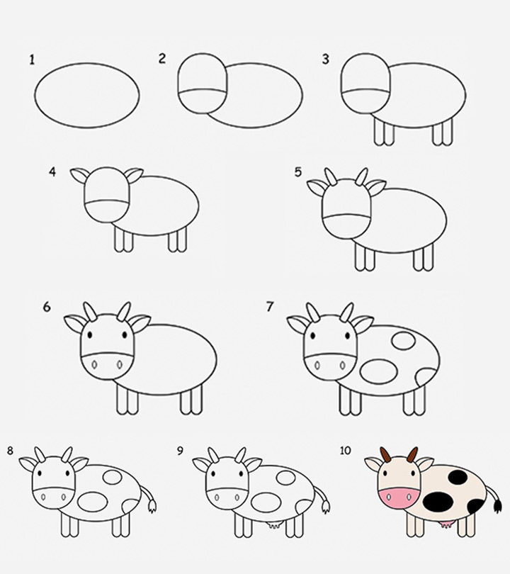 how to draw a cow step by step for kids