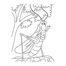 Animated Grasshopper Coloring Page