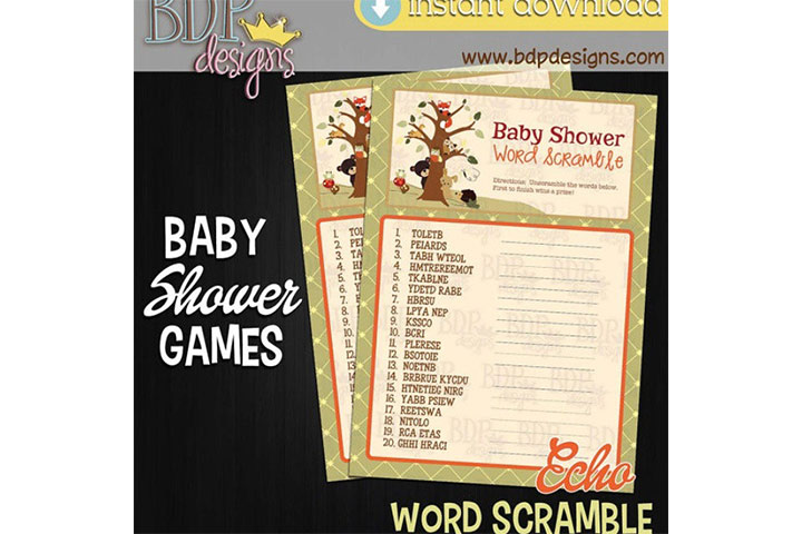 Baby Shower Word Scramble Game and Answers