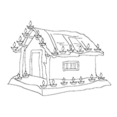 Diwali Coloring Pages - Beautifully Decorated House