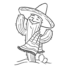 Cactus Coloring Page - Cactus Celebrating Cinco De Mayo