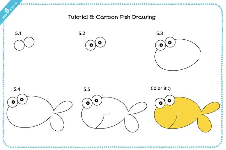Cartoon Fish Drawing - drawing Cute fish for kids